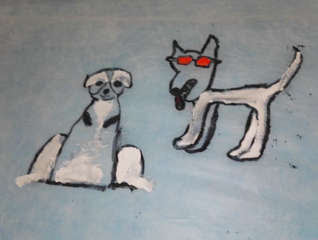 Das Bild zeigt eine Kinderzeichnung von zwei Hunden.