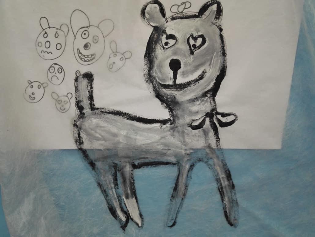 Kinderzeichnung von dem bunten Hund